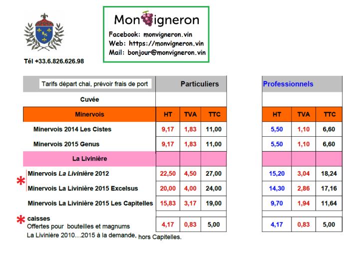 tarifs PRO monvigneron 2017