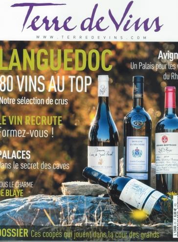 La Siranière Excelsus 2015 en couverture magasine Terre de vins (janvier 2018)